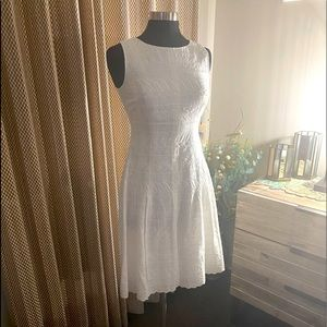 Ivanka Trump Cotton Eyelet Fit & Flare White Dress